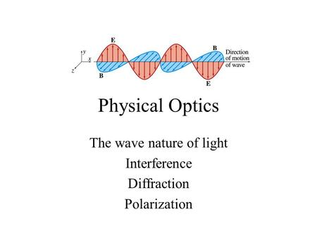 Physical Optics The wave nature of light Interference Diffraction Polarization.