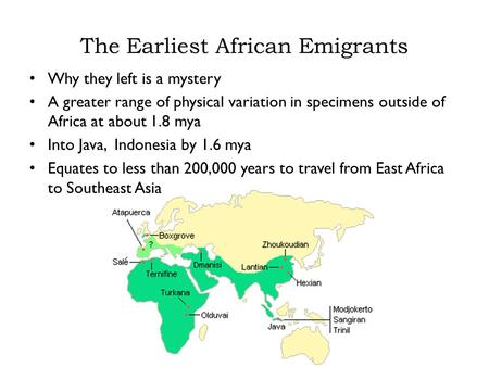 The Earliest African Emigrants Why they left is a mystery A greater range of physical variation in specimens outside of Africa at about 1.8 mya Into Java,