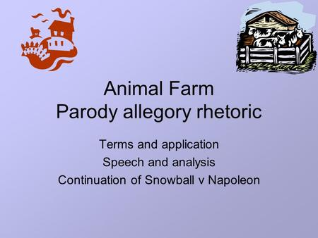 the effective use of allegory in animal farm a novel by george orwell Animal farm: allegory and the art of persuasion tools email the lesson what makes an allegory effective in this lesson students will focus on george orwell's animal farm as an example of this rhetorical device.