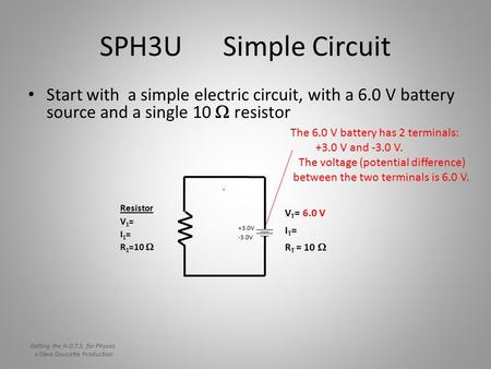 SPH3U Simple Circuit Start with a simple electric circuit, with a 6.0 V battery source and a single 10  resistor V T = 6.0 V IT=IT= R T = 10  Resistor.