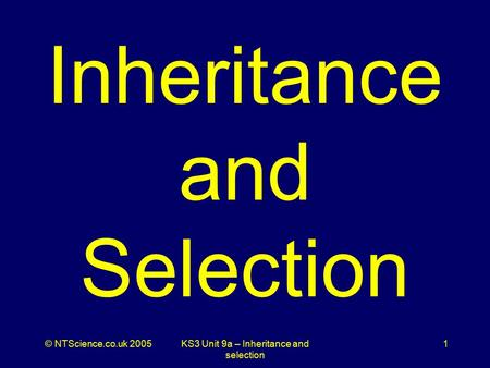© NTScience.co.uk 2005KS3 Unit 9a – Inheritance and selection 1 Inheritance and Selection.