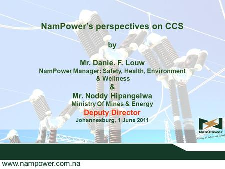 NamPower's perspectives on CCS