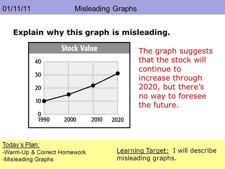 01/11/11 Misleading Graphs Today's Plan: -Warm-Up & Correct Homework -Misleading Graphs Learning Target: I will describe misleading graphs. Explain why.