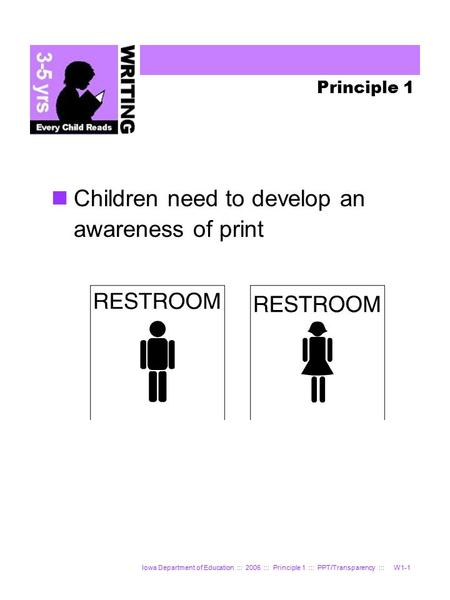 Iowa Department of Education ::: 2006 ::: Principle 1 ::: PPT/Transparency ::: W1-1 Principle 1 Children need to develop an awareness of print.
