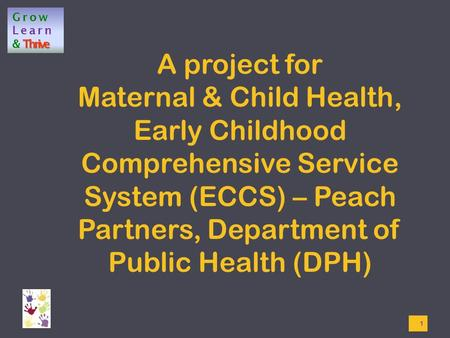Grow Learn Thrive &Thrive A project for Maternal & Child Health, Early Childhood Comprehensive Service System (ECCS) – Peach Partners, Department of Public.