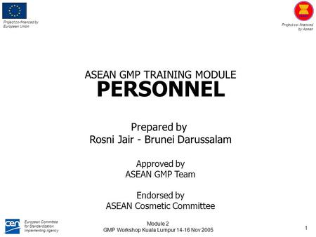 ASEAN GMP TRAINING MODULE PERSONNEL