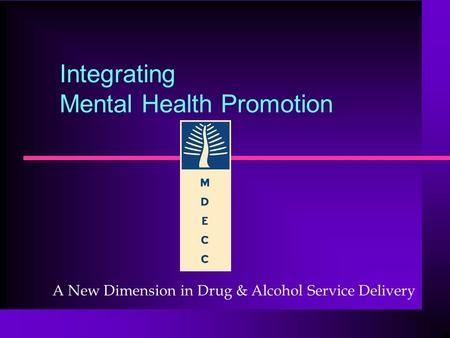 Integrating Mental Health Promotion A New Dimension in Drug & Alcohol Service Delivery.