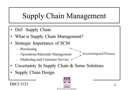 1 DSCI 3123 Supply Chain Management Def: Supply Chain What is Supply Chain Management? Strategic Importance of SCM –Purchasing –Operations/Materials Management.