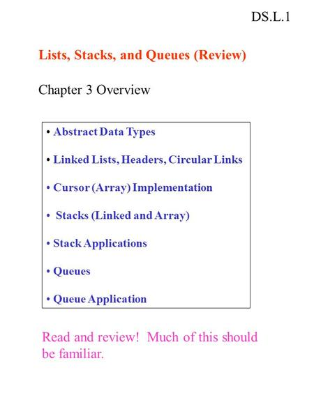 DS.L.1 Lists, Stacks, and Queues (Review) Chapter 3 Overview Abstract Data Types Linked Lists, Headers, Circular Links Cursor (Array) Implementation Stacks.