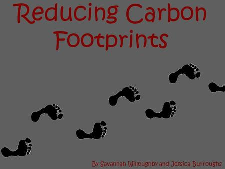 Reducing Carbon Footprints By Savannah Willoughby and Jessica Burroughs.
