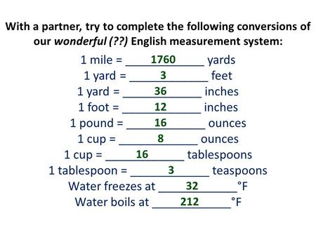 With a partner, try to complete the following conversions of our wonderful (??) English measurement system: 1 mile = ____________ yards 1 yard = ____________.