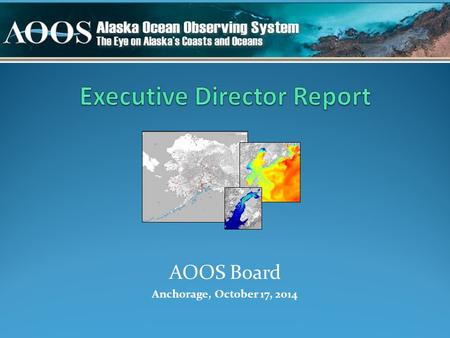 AOOS Board Anchorage, October 17, 2014. IOOS Association - Treasurer & EXCOM - Retreat in August - National budget - Certification Ocean Research Advisory.