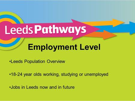 Employment Level Leeds Population Overview 18-24 year olds working, studying or unemployed Jobs in Leeds now and in future.