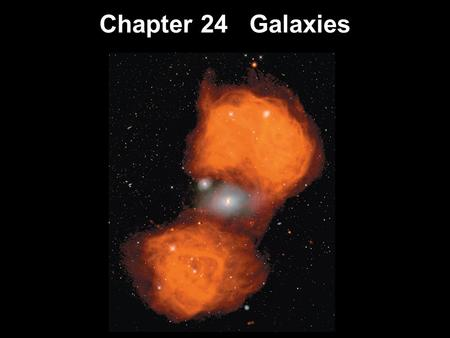 Chapter 24 Galaxies. 24.1Hubble's Galaxy Classification 24.2The Distribution of Galaxies in Space 24.3Hubble's Law 24.4Active Galactic Nuclei Relativistic.