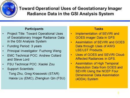 GOSE-R AWG Annual Meeting June 23-26, 2008 AWG Annual1 Toward Operational Uses of Geostationary Imager Radiance Data in the GSI Analysis System Participants.