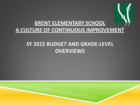 BRENT ELEMENTARY SCHOOL A CULTURE OF CONTINUOUS IMPROVEMENT SY 2015 BUDGET AND GRADE-LEVEL OVERVIEWS.