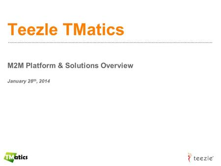 Teezle TMatics M2M Platform & Solutions Overview January 28 th, 2014.