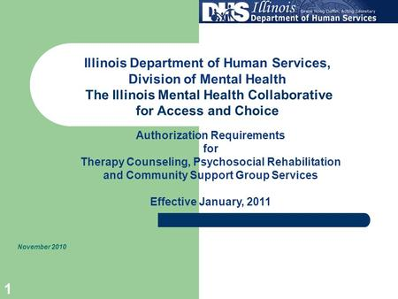 1 Illinois Department of Human Services, Division of Mental Health The Illinois Mental Health Collaborative for Access and Choice November 2010 Authorization.