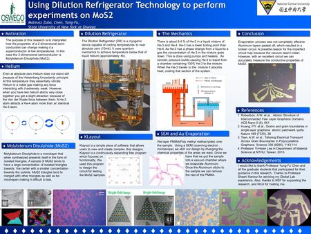 Using Dilution Refrigerator Technology to perform experiments on MoS2 Mateusz Zuba, Chen, Yung-Fu, State University of New York at Oswego  Motivation.