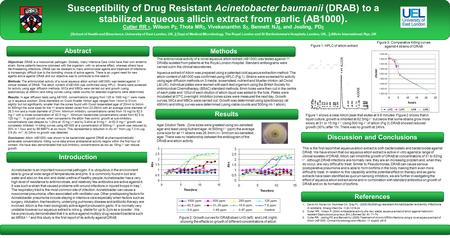 Susceptibility of Drug Resistant Acinetobacter baumanii (DRAB) to a stabilized aqueous allicin extract from garlic (AB1000 ). Researchers'/Presenters'