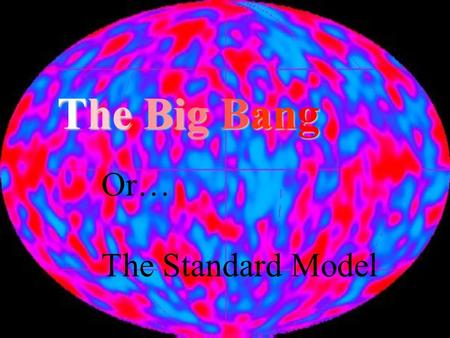 The Big Bang Or… The Standard Model. Precepts of the standard model The laws of Physics are the same throughout the Universe. The Universe is expanding.