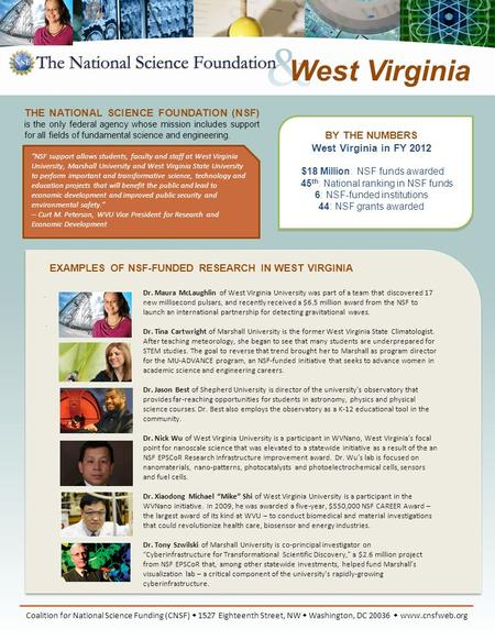 EXAMPLES OF NSF-FUNDED RESEARCH IN WEST VIRGINIA Coalition for National Science Funding (CNSF)  1527 Eighteenth Street, NW  Washington, DC 20036  www.cnsfweb.org.