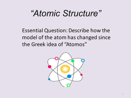 """Atomic Structure"" Essential Question: Describe how the model of the atom has changed since the Greek idea of ""Atomos"""