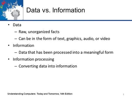 Data vs. Information Data – Raw, unorganized facts – Can be in the form of text, graphics, audio, or video Information – Data that has been processed into.