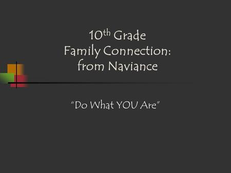 "10 th Grade Family Connection: from Naviance ""Do What YOU Are"""