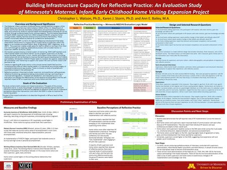 Preliminary Examination of Data Christopher L. Watson, Ph.D., Karen J. Storm, Ph.D. and Ann E. Bailey, M.A. Building Infrastructure Capacity for Reflective.