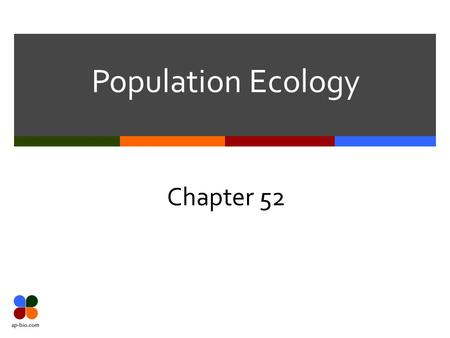 Population Ecology Chapter 52. Slide 2 of 27 Ecology  Def – Study of the interactions of organisms with their physical environment & with each other.