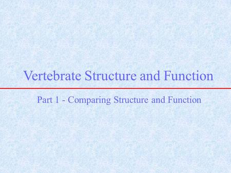 Vertebrate Structure and Function Part 1 - Comparing Structure and Function.