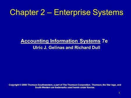 Chapter 2 – Enterprise Systems