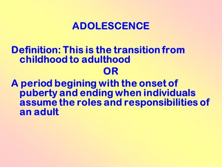 an analysis of the transition from childhood to adulthood In this seminar we will examine the economics of the transition to adulthood while there are many ways to define adulthood, social science.