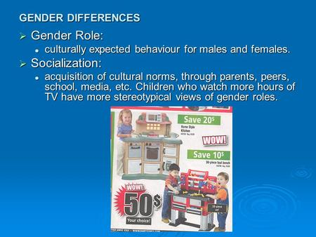GENDER DIFFERENCES  Gender Role: culturally expected behaviour for males and females. culturally expected behaviour for males and females.  Socialization: