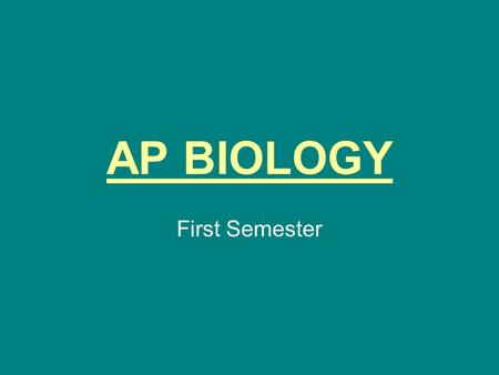 AP BIOLOGY First Semester. Biochemistry Water Chemical structure Importance of.