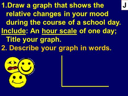 1.Draw a graph that shows the relative changes in your mood during the course of a school day. Include: An hour scale of one day; Title your graph. 2.