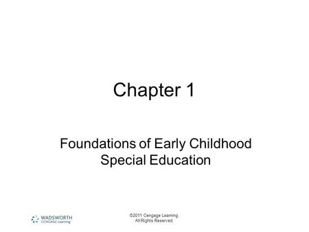 Foundations of Early Childhood Special Education