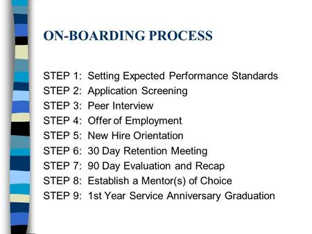 ON-BOARDING PROCESS STEP 1: Setting Expected Performance Standards