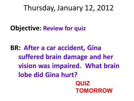 Thursday, January 12, 2012 Objective : Review for quiz BR:After a car accident, Gina suffered brain damage and her vision was impaired. What brain lobe.