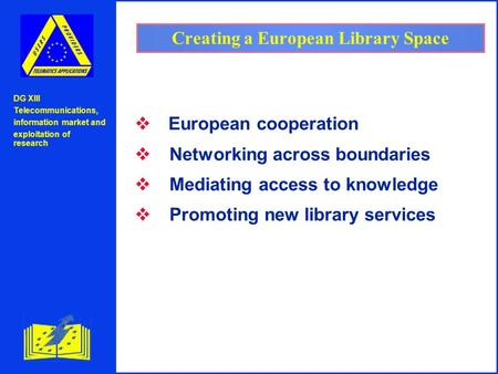 DG XIII Telecommunications, information market and exploitation of research Creating a European Library Space  European cooperation v Networking across.