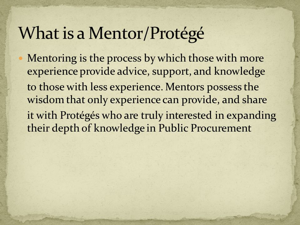 Develop Future Public Procurement Professionals and Leaders Mentors are able to share their invaluable knowledge Address Aging Workforce Adds Value to Public Procurement Profession Foster Professional Relationships Enhance Protégé knowledge/core capabilities in Public Procurement