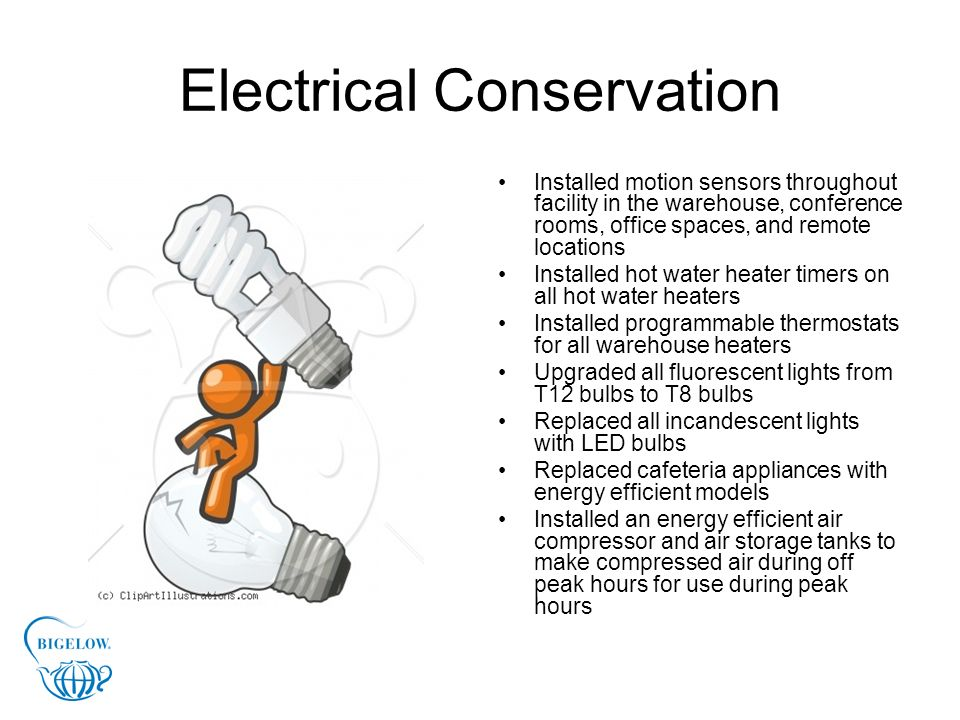 Electrical Conservation Use outside air for cooling where possible Analyzed lighting levels and reduced lights where applicable Installed window laminates to reduce cooling load in summer months Installed occupancy sensors for HVAC system in low use rooms Installed timers on all dust collectors It is estimated that we have save approximately 900,000 kilowatts annually through our energy conservation methods