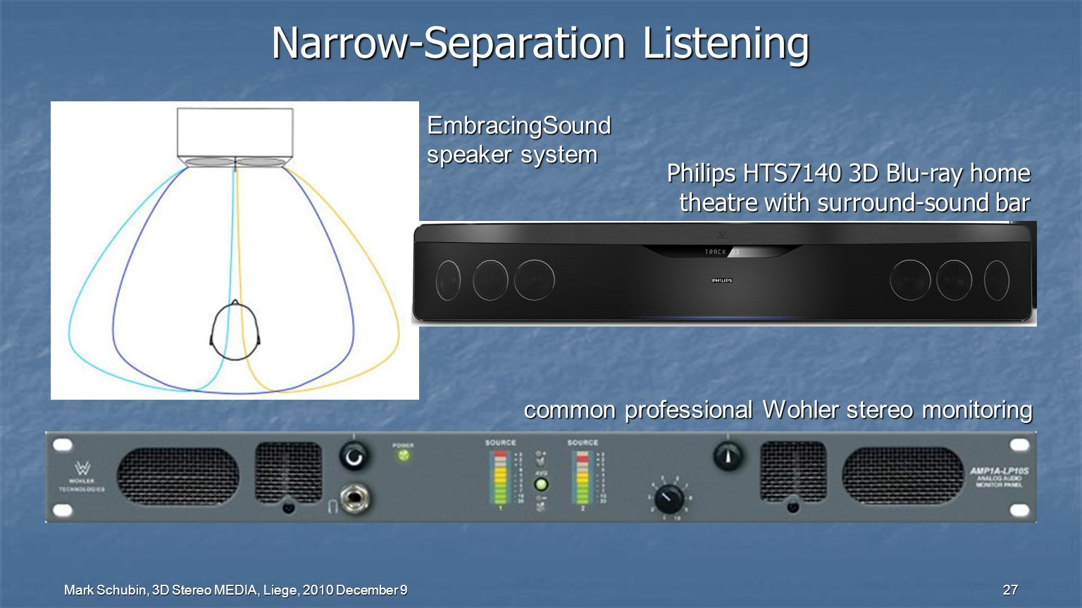 Mark Schubin, 3D Stereo MEDIA, Liege, 2010 December 9 27 Narrow-Separation Listening EmbracingSound speaker system common professional Wohler stereo monitoring Philips HTS7140 3D Blu-ray home theatre with surround-sound bar