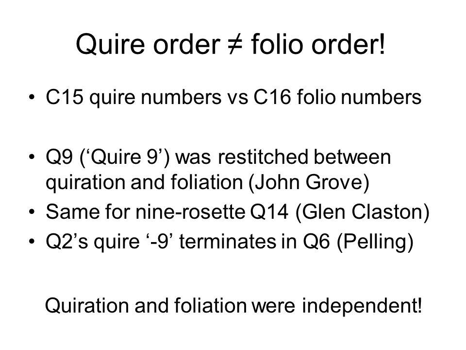 Quire order original quire order.