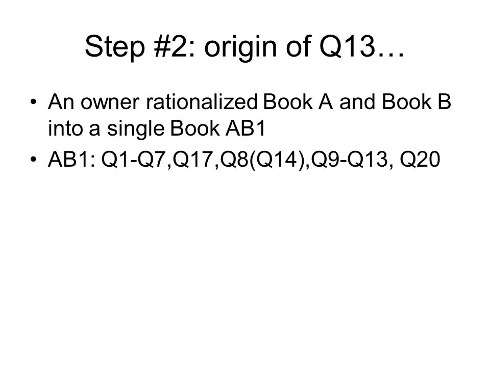 Step #3: Q14 falls out… First folded page of Q14 was f86v3 Q14s binding damaged, so had fallen out Q14 was reinserted immediately after Q8 AB2: Q1-Q7,Q17,Q8,Q14,Q9-Q13,Q20