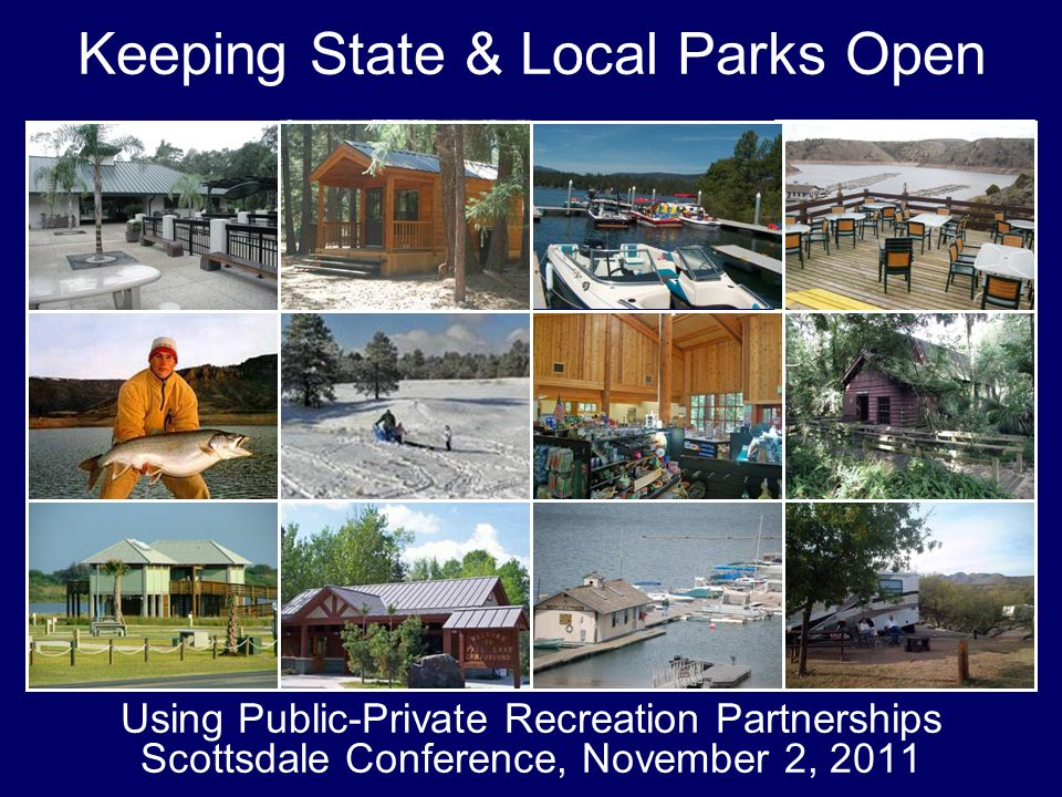 2 Keeping State and Local Parks Open 2011 Conference on Recreation PPPs Agenda 1:00-2:00 Presidents Welcome and Len Gilroy Keynote Address (Sonora AB) 2:00-3:15 What are Recreation Public-Private Partnerships (Salon 1) –Definition and examples –Advantages –Dealing with the concerns 3:15-3:30 Break (Sonora Breezeway) 3:30-4:30 Bidding and Contracts (Salon 1) 4:30-5:00 Concession Economics (Salon 1) 5:00-5:30 Questions and Answers (Salon 1) 5:30-8:00 Joint Reception with the NFRA (Sonora Breezeway & Sierra Loggia)