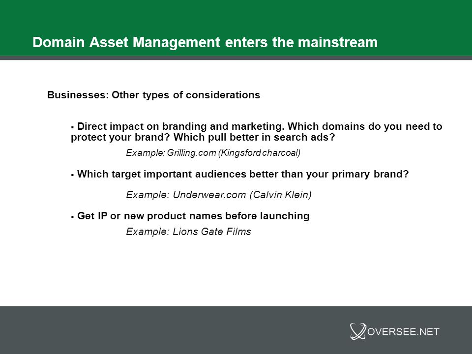 Domain Asset Management enters the mainstream Businesses: Other types of considerations Defensive asset management: What is the competition doing.
