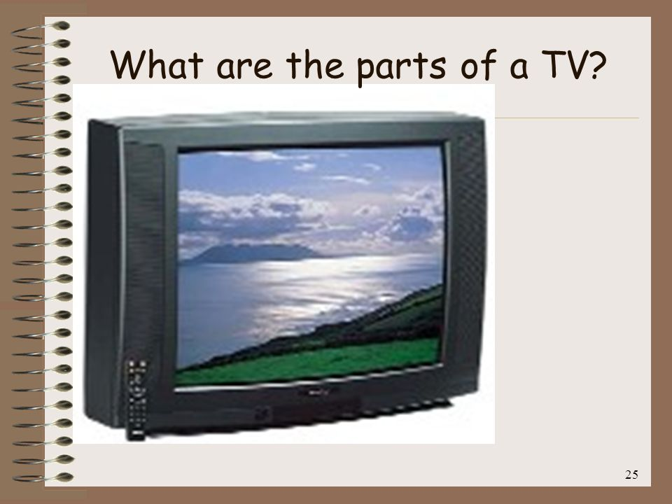 26 1.Screen 2.Remote Control Volume Channel Speaker Box Plug What are the parts of a TV?