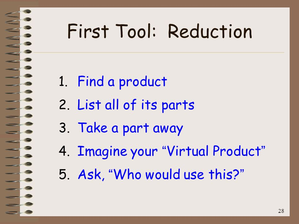 29 Second Tool: Replacement 1.Find a product and list all of its parts 2.